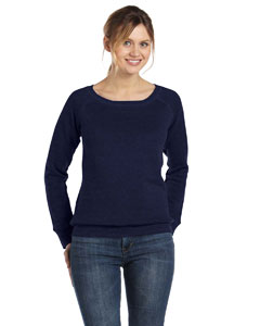 Navy Women's Triblend Sponge Fleece Wide Neck Sweatshirt