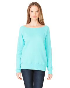 Teal Women's Triblend Sponge Fleece Wide Neck Sweatshirt