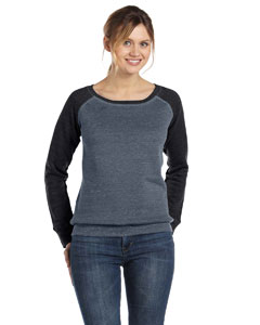 Dp Heather/black Women's Triblend Sponge Fleece Wide Neck Sweatshirt