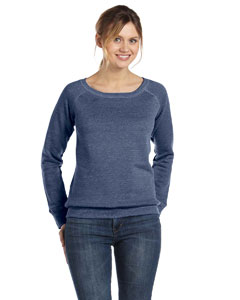 Navy Triblend Women's Triblend Sponge Fleece Wide Neck Sweatshirt