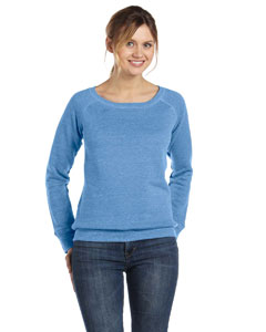 Blue Triblend Women's Triblend Sponge Fleece Wide Neck Sweatshirt