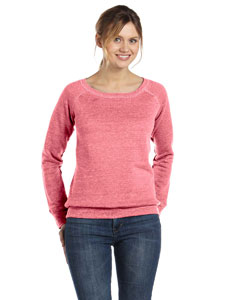 Red Marble Flc Women's Triblend Sponge Fleece Wide Neck Sweatshirt