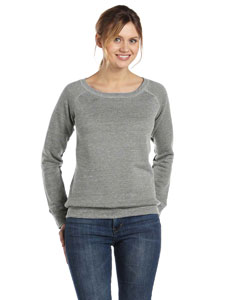 Lt Grey Marble Women's Triblend Sponge Fleece Wide Neck Sweatshirt