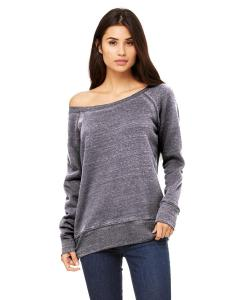 Grey Acid Fleece Women's Triblend Sponge Fleece Wide Neck Sweatshirt