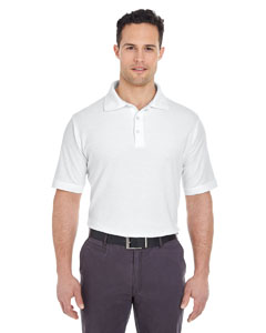 White Men's Platinum Honeycomb Pique Polo