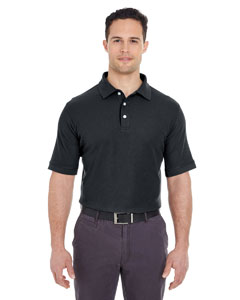 Black Men's Platinum Honeycomb Pique Polo