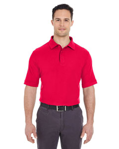 Red Men's Platinum Honeycomb Pique Polo