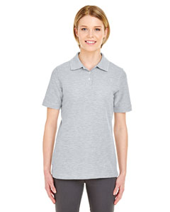 Heather Grey Ladies' Platinum Honeycomb Pique Polo