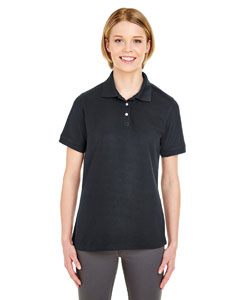 Black Ladies' Platinum Honeycomb Pique Polo