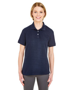 Navy Ladies' Platinum Honeycomb Pique Polo
