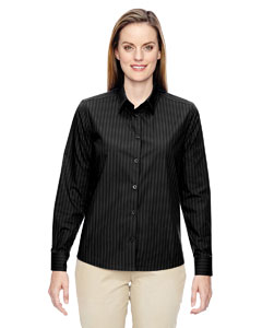 Black 703 Ladies' Align Wrinkle-Resistant Cotton Blend Dobby Vertical Striped Shirt