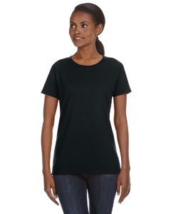 Black Ladies' Ringspun Midweight Mid-Scoop T-Shirt