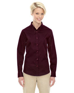Burgundy 060 Ladies' Operate Long-Sleeve Twill Shirt