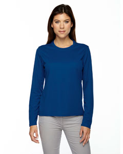 True Royal 438 Ladies' Agility Performance Long-Sleeve Piqué Crew Neck