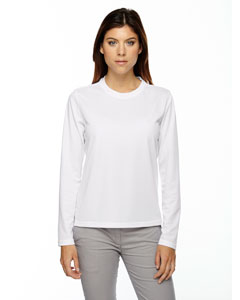 White 701 Ladies' Agility Performance Long-Sleeve Piqué Crew Neck