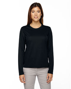 Black 703 Ladies' Agility Performance Long-Sleeve Piqué Crew Neck