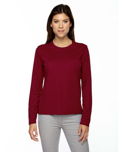 Classic Red 850 Ladies' Agility Performance Long-Sleeve Piqué Crew Neck