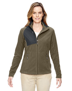 Dk Oakmoss 487 Ladies' Excursion Trail Fabric-Block Fleece Jacket