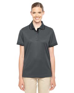 Carbon/ Blk 456 Ladies' Motive Performance Pique Polo with Tipped Collar