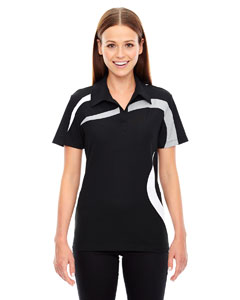 Black 703 Ladies' Impact Performance Polyester Piqué Colorblock PoloPe