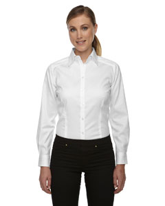 White 701 Ladies' Wrinkle-Free Two-Ply 80's Cotton Taped Stripe Jacquard Shirt