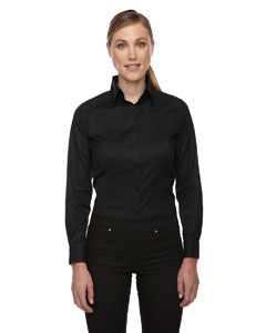 Black 703 Ladies' Wrinkle-Free Two-Ply 80's Cotton Taped Stripe Jacquard Shirt