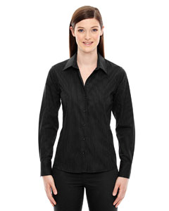 Black 703 Ladies' Boardwalk Wrinkle-Free Two-Ply 80's Cotton Striped Tape Shirt