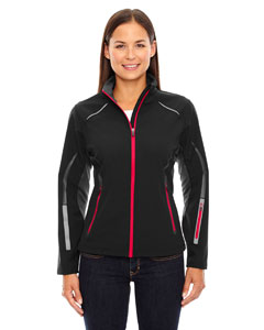 Blk/olym Red 461 Ladies' Pursuit Three-Layer Light Bonded Hybrid Soft Shell Jacket with Laser Perforation