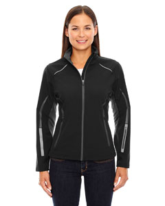 Black 703 Ladies' Pursuit Three-Layer Light Bonded Hybrid Soft Shell Jacket with Laser Perforation