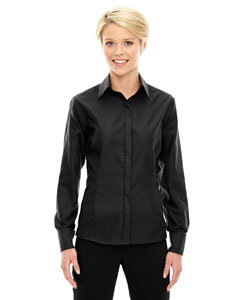 Black 703 Ladies' Refine Wrinkle-Free Two-Ply 80's Cotton Royal Oxford Dobby Taped Shirt