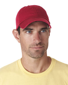Red Classic Cut Chino Cotton Twill Unconstructed Cap