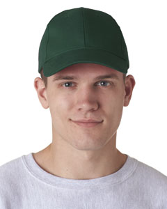 Forest Green Classic Cut Brushed Cotton Twill Constructed Cap