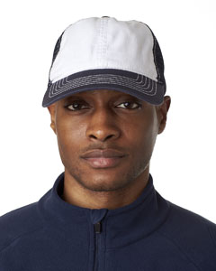 White/ Navy Classic Cut Washed Brushed Cotton Twill Unconstructed Trucker Cap