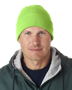 Lime Green Adult Knit Beanie with Cuff