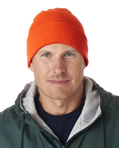 Blaze Orange Adult Knit Beanie with Cuff