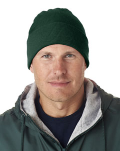 Forest Green Adult Knit Beanie with Cuff