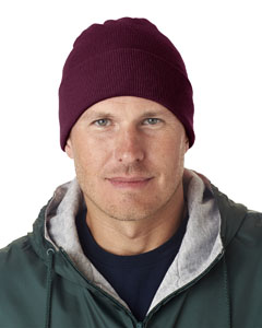Burgundy Adult Knit Beanie with Cuff