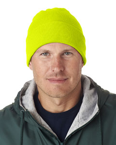 Safety Yellow Adult Knit Beanie with Cuff