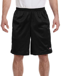 Black 3.7 oz. Long Mesh Shorts with Pockets