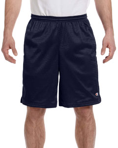 Navy 3.7 oz. Long Mesh Shorts with Pockets