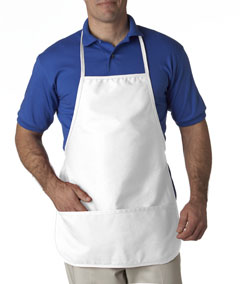 White Large 2-Pocket Bib Apron