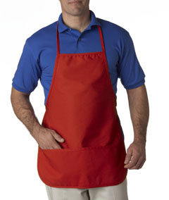 Red Large 2-Pocket Bib Apron