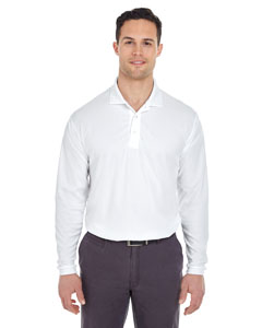 White Adult Cool & Dry Long-Sleeve Mesh Piqué Polo