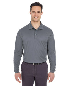 Charcoal Adult Cool & Dry Long-Sleeve Mesh Piqué Polo