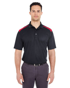 Black/ Red Adult Cool & Dry 2-Tone Mesh Piqué Polo