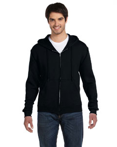 Black Adult 12 oz. Supercotton™ 70/30 Full-Zip Hood