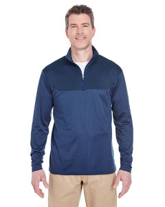 Navy/ Blue Adult Cool & Dry Sport Color Block Quarter-Zip Pullover