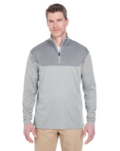 Silver/ Gravel Adult Cool & Dry Sport Color Block Quarter-Zip Pullover