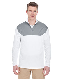 White/ Silver Adult Cool & Dry Sport Color Block Quarter-Zip Pullover
