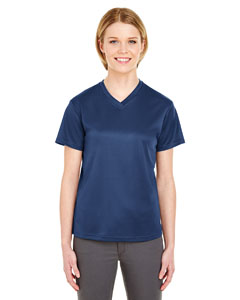 Navy Ladies' Cool & Dry Sport V-Neck T-Shirt